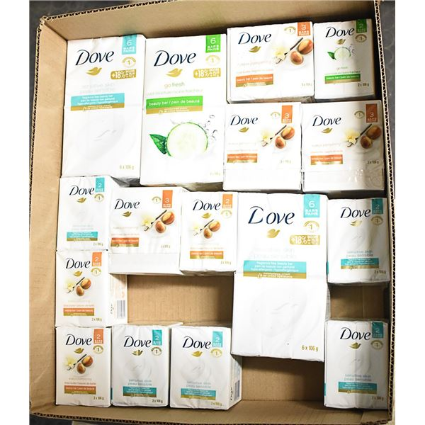 FLAT LOT OF DOVE BRAND SOAP PRODUCTS