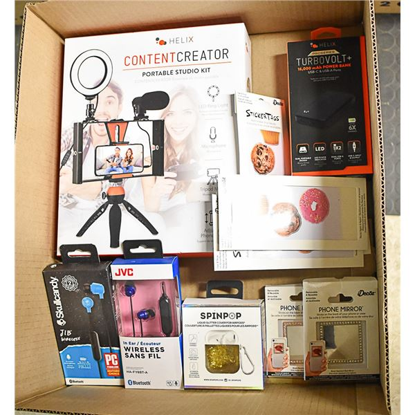 BOX OF CREATOR CONTENT AND HEADPHONES LOT