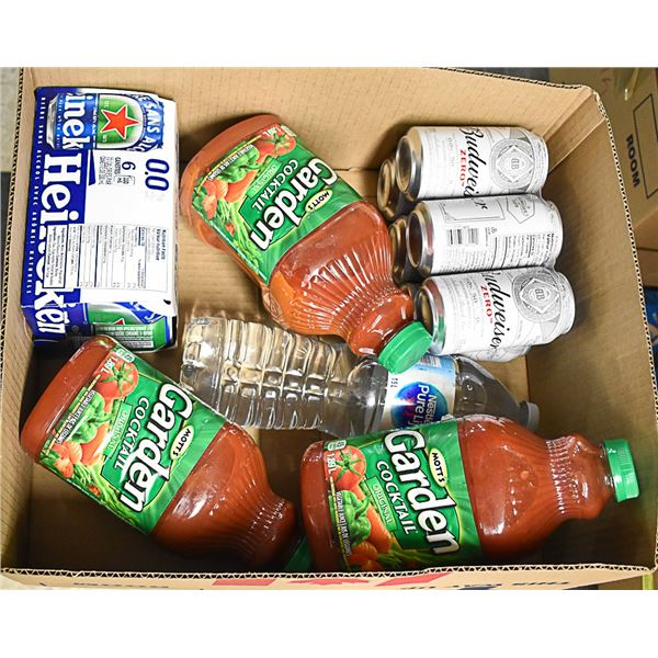 FLAT LOT OF ALCOHOL FREE BEER AND TOMATO JUICE