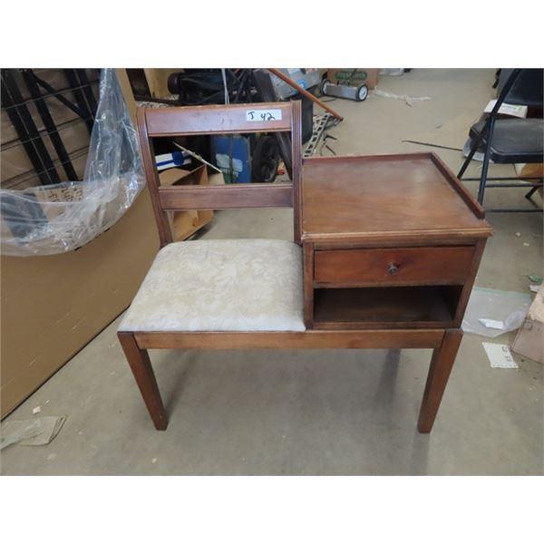 Walnut Telephone Chair/ Stand Combo