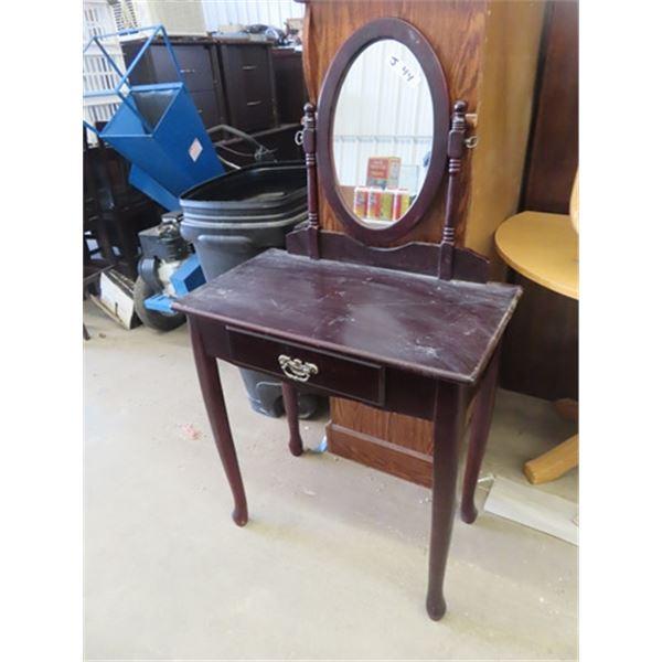 Vanity Stand w Swivel Mirror & Drawer