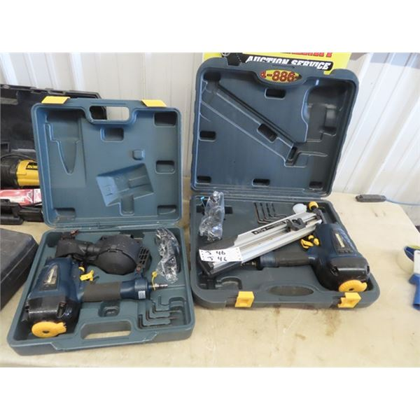2 Mastercraft Air Nailer 1) Roofing Coil, 1) Framing - Both Have Cases