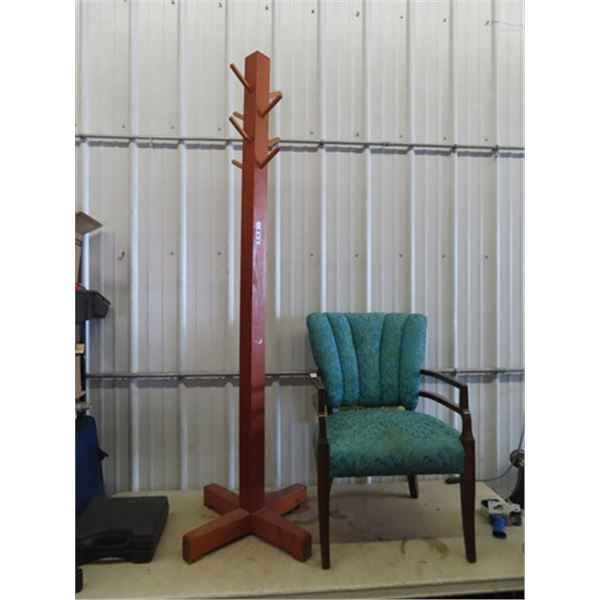Coat Rack & Occasional Chair