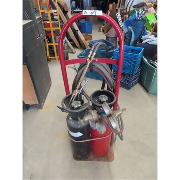 Acetylene Torches, Gauges, Tanks & Cart