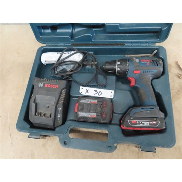 Bosch 18 V Drill w 2 Batteries & Charger w Case