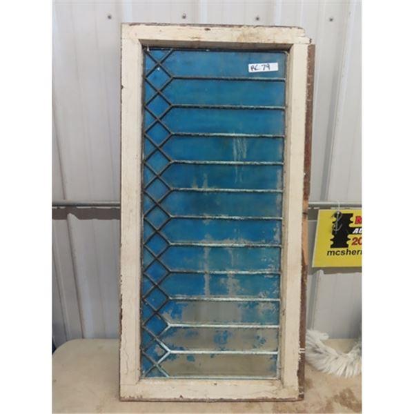 """Old Window Glass w Metal Decor 23""""x 45"""""""