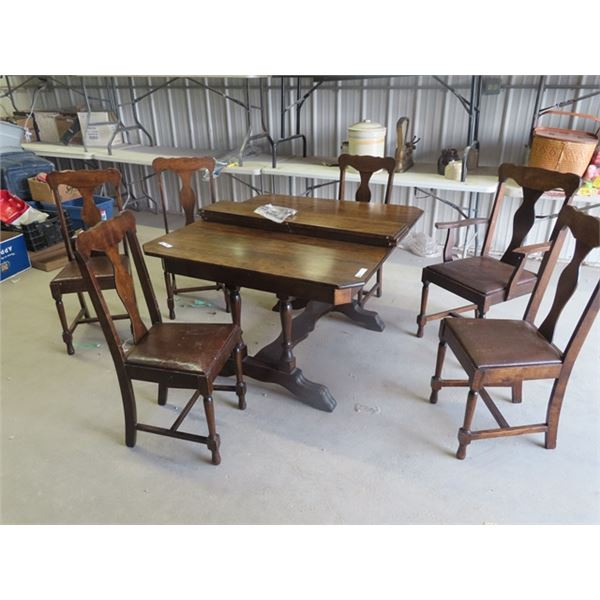 """Dining Room Table & 6 Chairs- 42"""" x 48"""" - Plus 3 - 8"""" Leaves"""