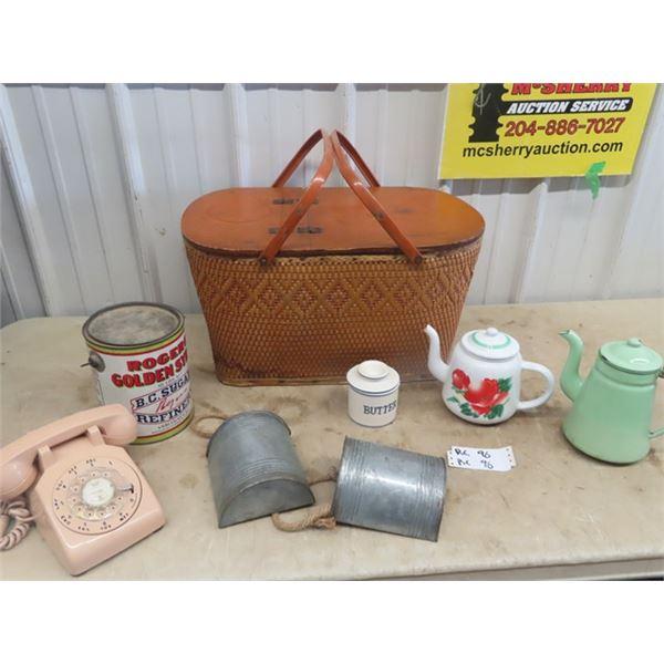 Picnic Basket, 2 Enamel Kettles, Honey Tin, & Rotary Phone