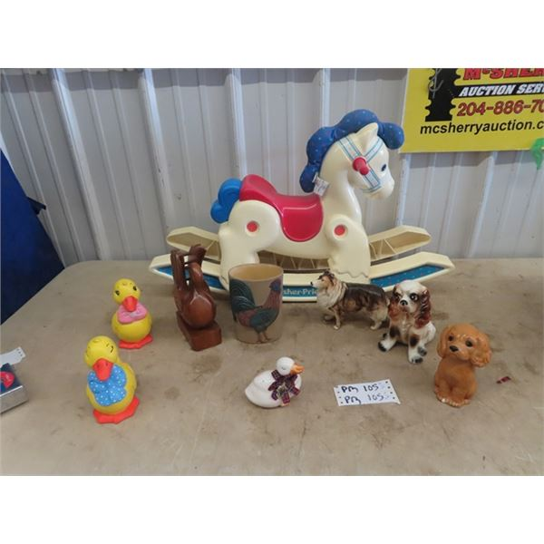 Fisher Price Rocking Horse, & Ornaments