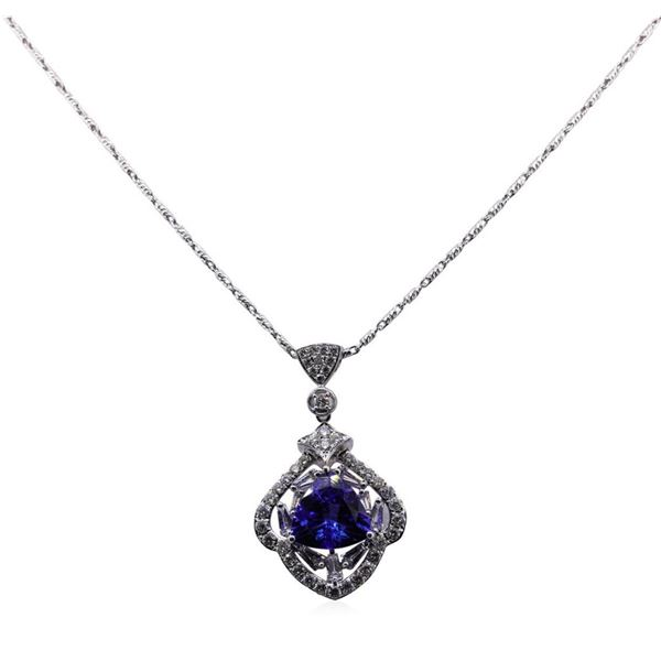 3.47 ctw Tanzanite and Diamond Pendant With Chain - 18KT White Gold