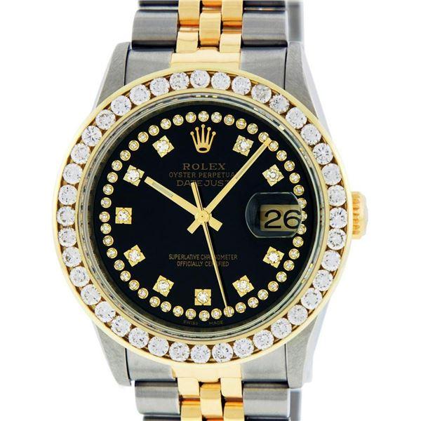 Rolex Mens 2 Tone Black String VS 3 ctw Channel Set Diamond Datejust Wristwatch