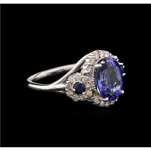 3.81 ctw Tanzanite, Blue Sapphire, and Diamond Ring - 14KT White Gold