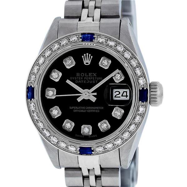 Rolex Ladies Stainless Steel Black Diamond & Sapphire Datejust Wristwatch 26MM