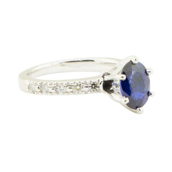 1.73 ctw Blue Sapphire and Diamond Ring - 14KT White Gold