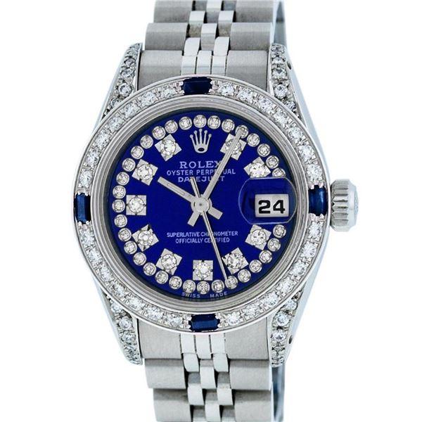 Rolex Ladies Stainless Steel Diamond Lugs Royal Blue String VVS Diamond Datejust