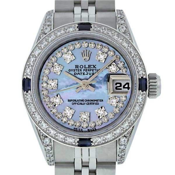 Rolex Ladies Stainless Steel Quickset Blue MOP Diamond Lugs Oyster Perpetual 26m