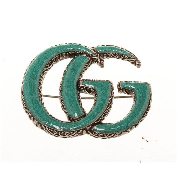 Gucci Green GG Brooch