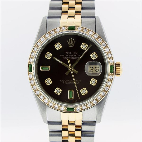 Rolex Mens 2 Tone Brown Diamond & Emerald Oyster Perpetual Datejust Wristwatch