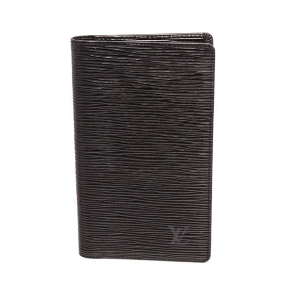 Louis Vuitton Black Epi Leather Long Checkbook Wallet