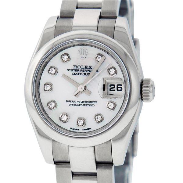 Rolex Ladies Stainless Steel Mother Of Pearl Diamond Quickset Datejust Wristwatc