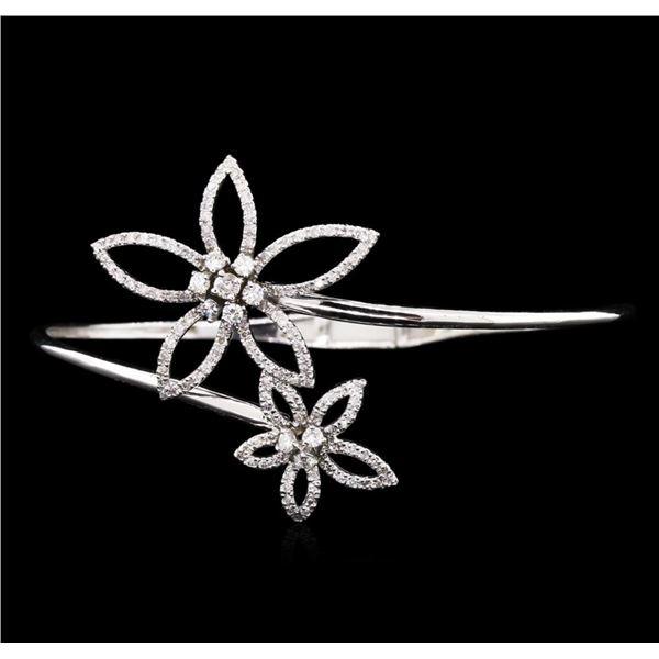 1.41 ctw Diamond Bangle Bracelet - 14KT White Gold