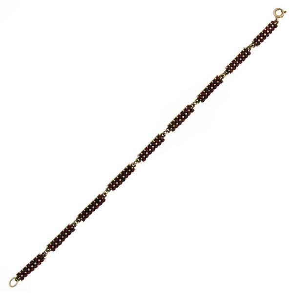 "Antique Gilded Silver 6.30 ctw Old Round Cut Bohemian Garnet 8"" Tennis Bracelet"