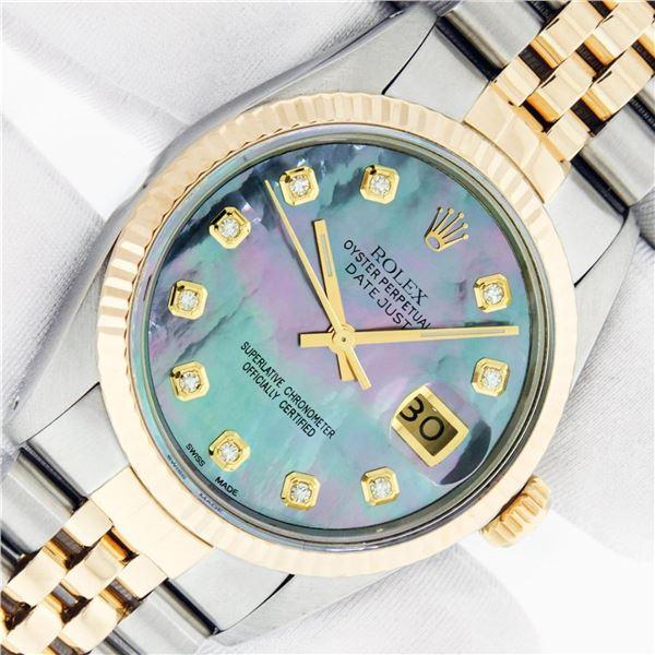 Rolex Mens 2 Tone Tahitian MOP Diamond 36MM Datejust Wristwatch Oyster Perpetual