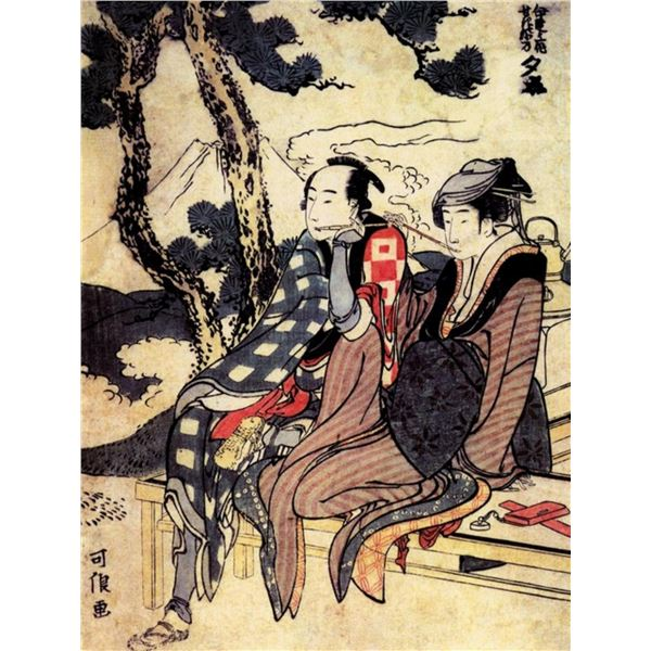 Hokusai - Traveling Couple