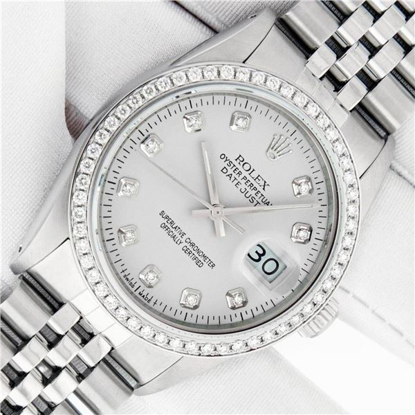 Rolex Mens 36 Silver Diamond Stainless Steel With Rolex Box