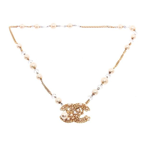 Chanel Faux Pearl  Crystal CC Pendant Necklace