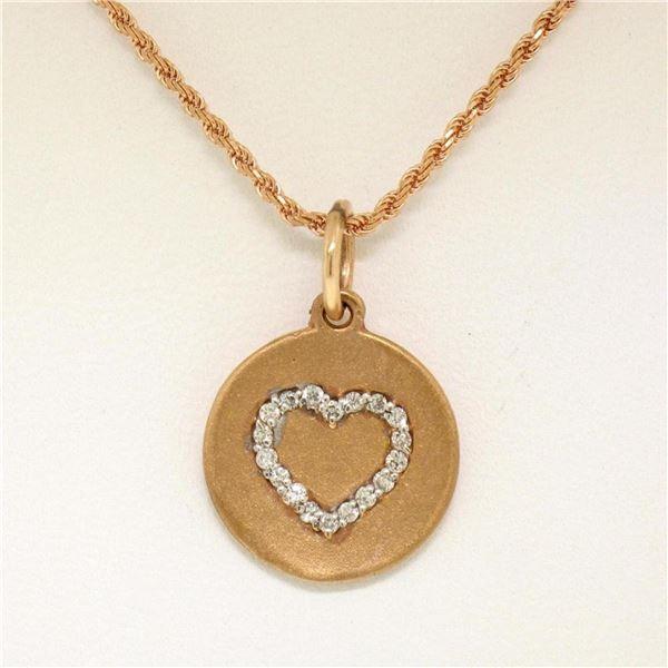 "14K Rose Gold 0.13 ctw Diamond Open Heart Disc Pendant w/ 16"" Rope Chain"