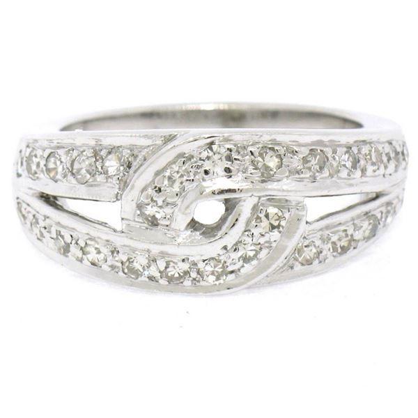 Vintage Platinum 0.50 ctw Round Single Cut Pave Diamond Interlocking Band Ring