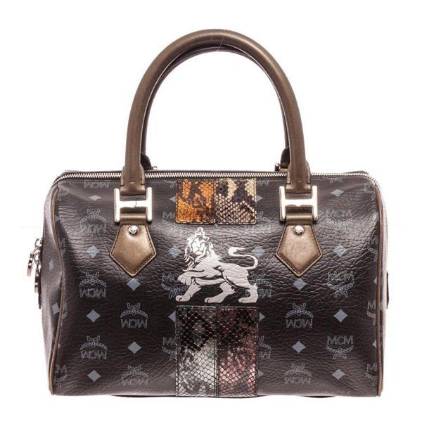 MCM Black Lion Boston Bag