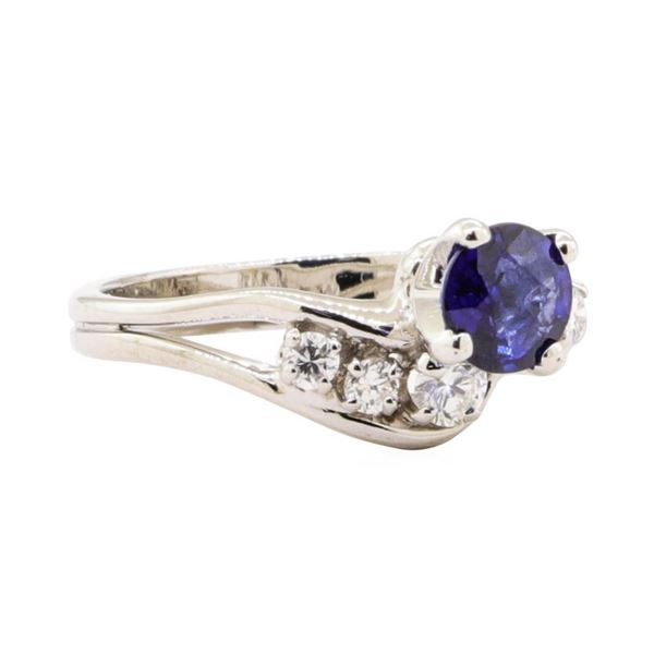 0.92 ctw Blue Sapphire and Diamond Ring - 14KT White Gold