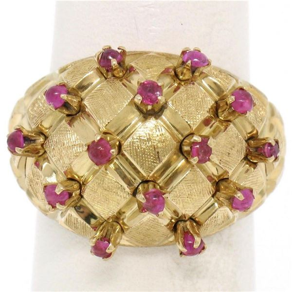 18K Yellow Gold 0.70 ctw Cabochon Ruby Cluster Checkerboard Cocktail Ring