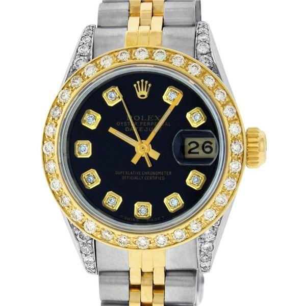 Rolex Ladies 2 Tone 18K Black Diamond Lugs Datejust Wristwatch 26MM Oyster Perpe