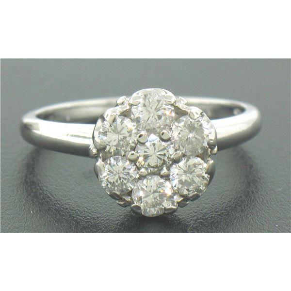 14k Solid White Gold 0.91 ctw 7 Raised Round Brilliant Cut Diamond Cluster Ring