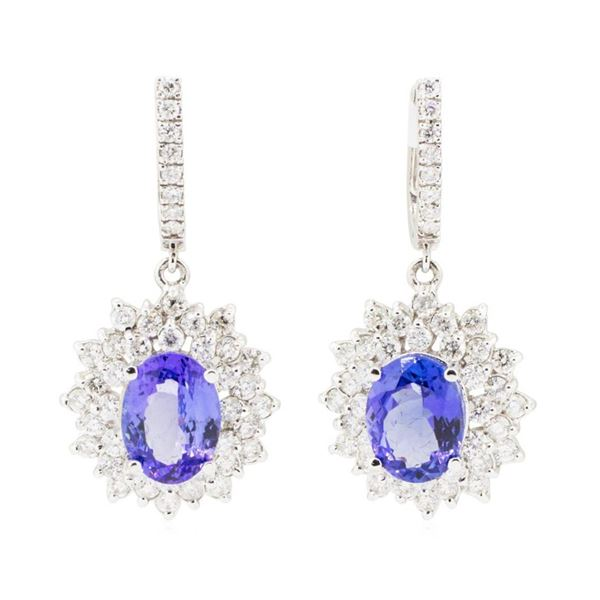 11.22 ctw Oval Mixed Tanzanites And Round Brilliant Cut Diamond Double Halo Bask