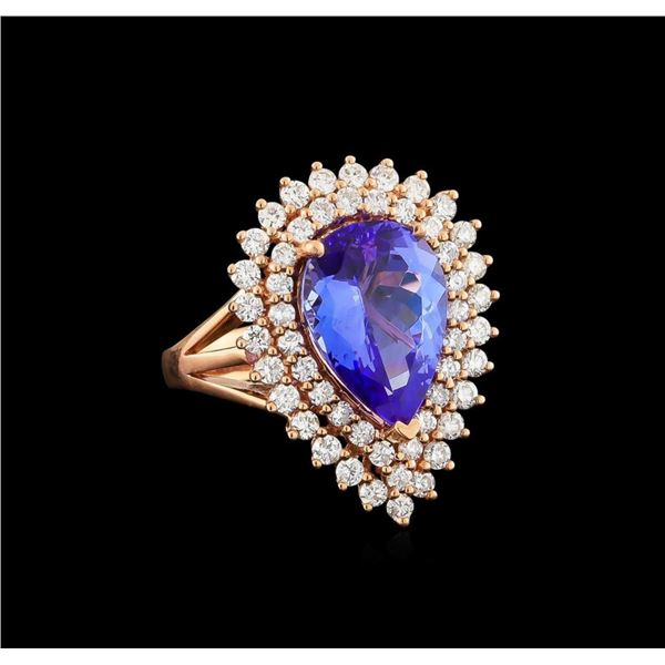 14KT Rose Gold 6.32 ctw Tanzanite and Diamond Ring