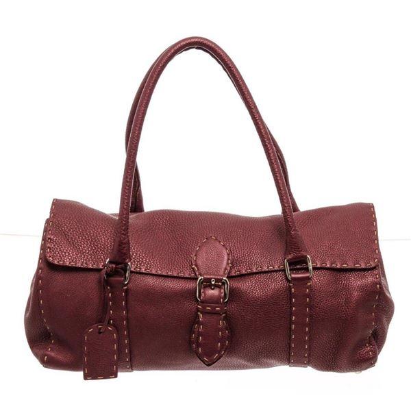 Fendi Wine Red Leather Selleria Shoulder Bag