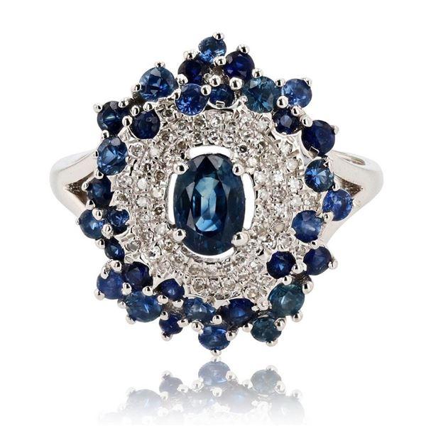 1.65 ctw Blue Sapphire and 0.14 ctw Diamond 14K White Gold Ring