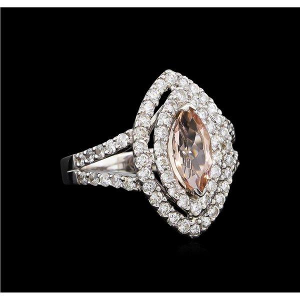14KT White Gold 1.20 ctw Morganite and Diamond Ring