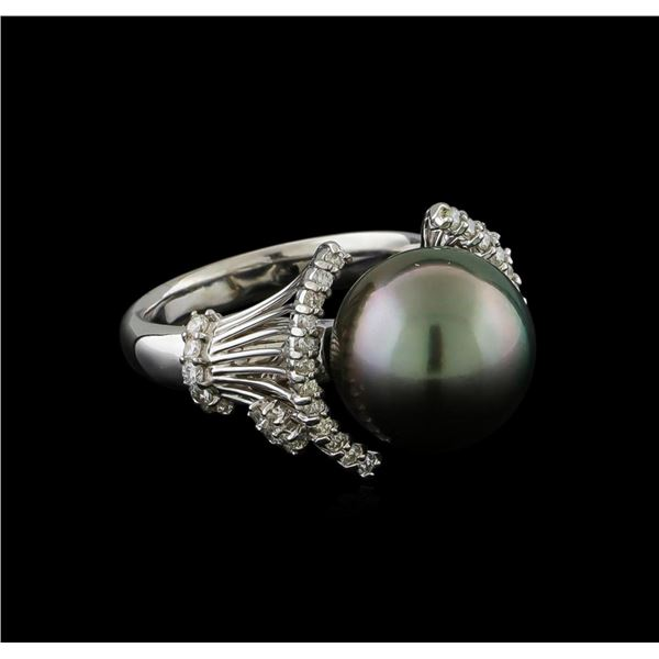 Pearl and Diamond Ring - 14KT White Gold