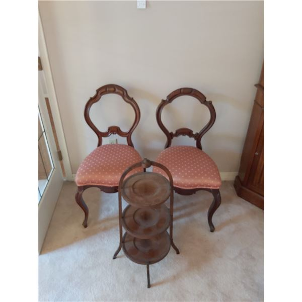 Antique chairs & cake/sandwich tray B