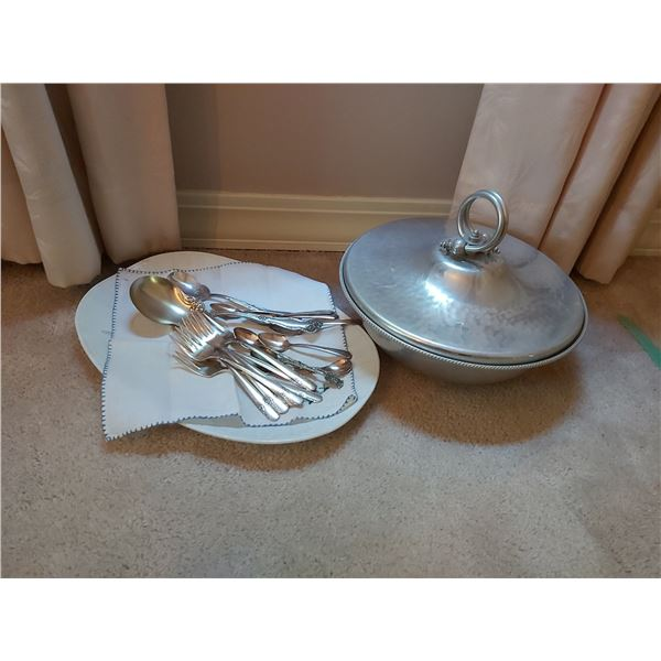 Silver Plate Curlery and Aluminum Serving Dish Cat A