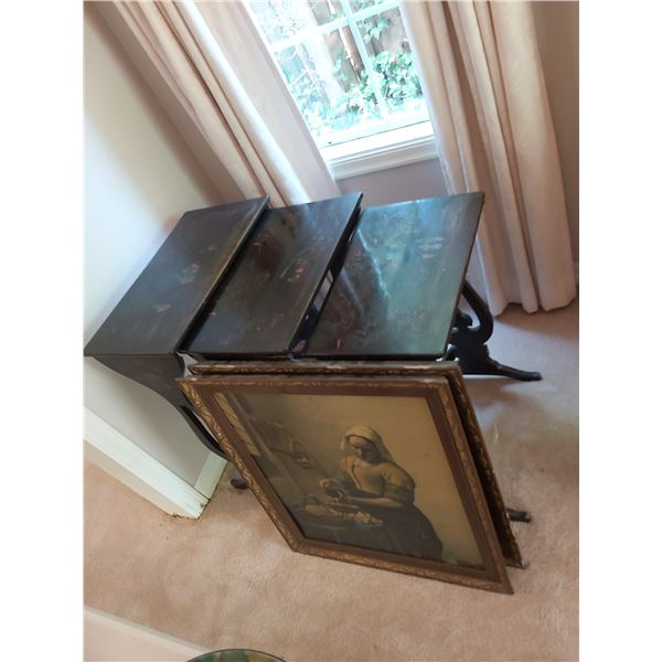 Chinese nesting tables & prints B