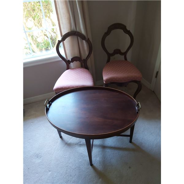 Two antique chairs & table B