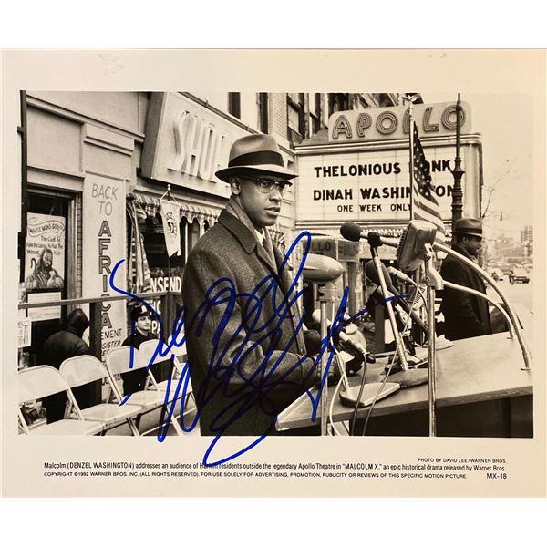 Malcolm X Denzel Washington signed movie photo