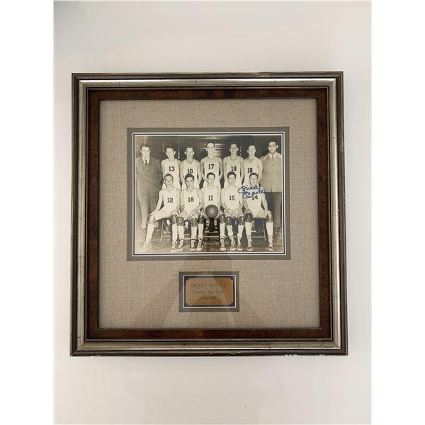 Mickey Mantle RARE signed High School basketball photo c1947- Rare
