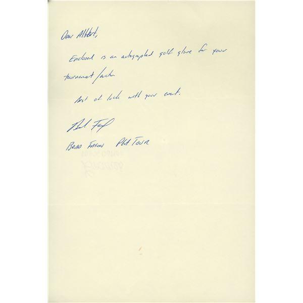 Golfer Brad Faxon handwritten signed letter